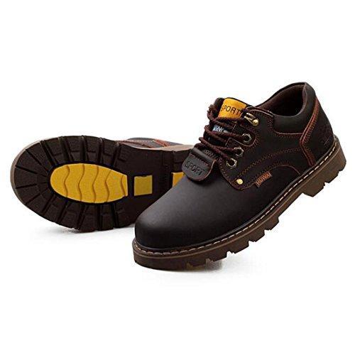 Scarpe da uomo in pelle d'autunno e inverno scarpe impermeabili Scarpe britanniche di Martin corto basso per aiutare a legare le scarpe di massa dark brown