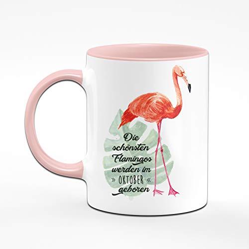Tassenbrennerei Flamingo Tasse mit Spruch Die schönsten Flamingos Werden im Oktober geboren - Geschenk zum Geburtstag, Geburtstagstasse, Tassen mit Sprüchen (Oktober) - 2