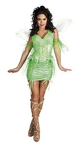 n Feen Kostüm - Minikleid, Raffung, Neongrün, Größe M (Tiana Kostüm Erwachsene)