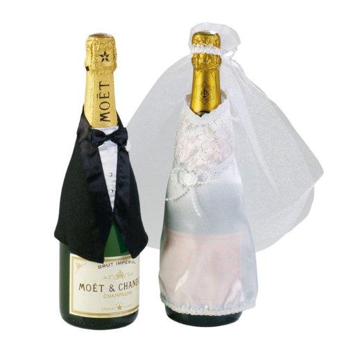 Flaschendeko 'Hochzeitspaar' 3-tlg.