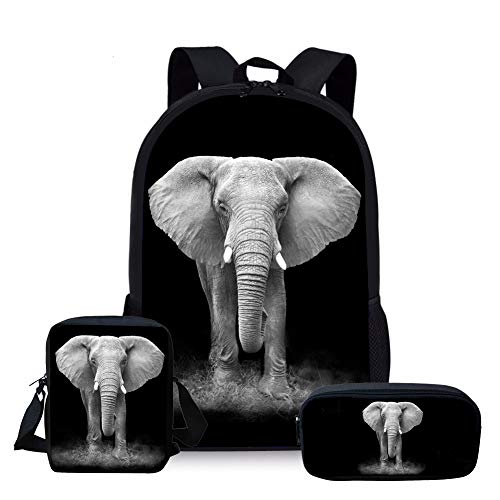 Nopersonality Mädchen Jungen Schulrucksack Fashion Kinder Rucksack Elephant Backpack Rucksack for Teenager Girls Boys Junior, Schwarz (Elefant)