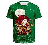 Sunnyuk Humor de Navidad para Hombre Impresión 3D Disfraz de Navidad en Color sólido Traje de Navidad Camiseta de Manga Corta