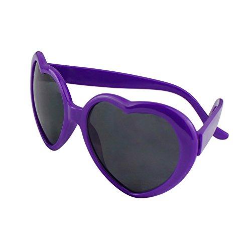 Unisex Herz Form Sonnenbrille Sonnenbrillen Sonnen Brille (Lila)