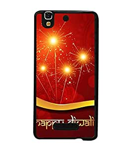 PrintVisa Designer Back Case Cover for Yu Yureka PlusYU5510A (sparkling golden maroon Diwali wishes)