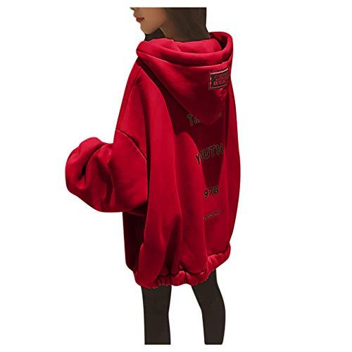 LILIGOD Damen Lässiges Pulloverkleid mit Kapuze Lose Large Size Hoodie Einfarbig Zipper Letter Print Kapuzenpullover Dicker Warmer Pullover Sweater Langer Kapuzenpullover Sweatshirt -