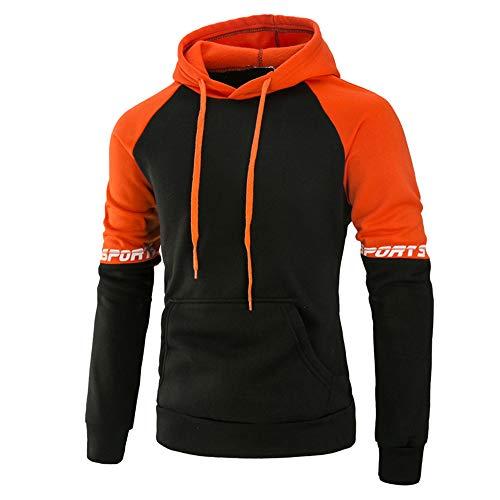 Aiserkly Kapuzen-Sweatshirt Herren Langarm Hoodie T-Shirt Tops Jacke Mantel Outwear Kapuzenpulli Trainingsanzug Sportanzug Jogginganzug Pullover Bluse Orange XL