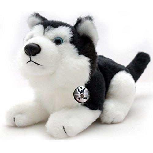 Husky IDAHO Schlittenhund liegend schwarz-weiß mit blauen Augen Plüschtier 22 cm von Kuscheltiere.biz