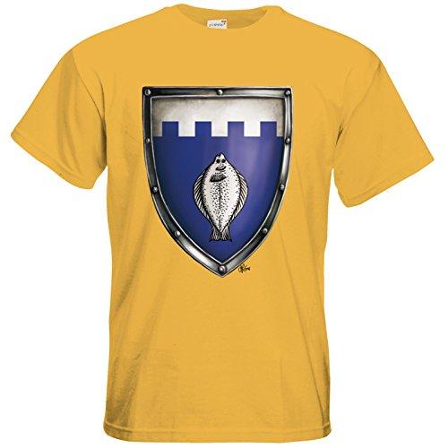 getshirts - Das Schwarze Auge - T-Shirt - Die streitenden Königreiche - Wappen Nostria S Gold