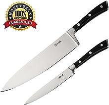 Aicok Cuchillos de Cocinero Dos Cuchillos Juego de Cuchillos Ergonómicos Cuchillos de Cocina de Acero Inoxidable De 20 y 13 cms