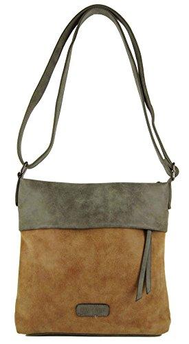 CASAdiNOVA Damen Tasche Used Look Braun Vintage Sportliche Umhängetasche Frauen Neu Herbst 2018 Handtasche Medium