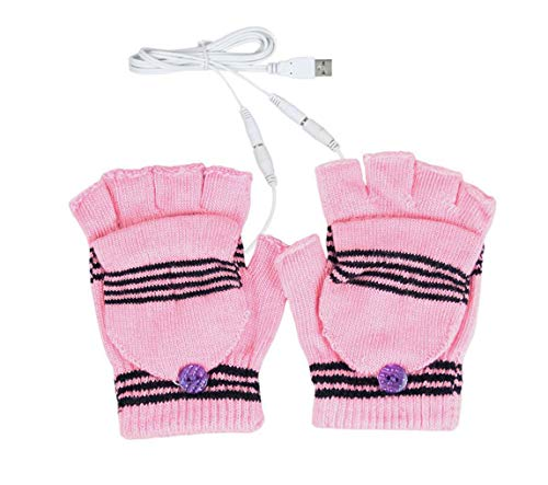 1 paire (couleur aléatoire) femmes motif de rayures sans doigts USB chauffage tricoter les mains au chaud ordinateur portable gant d'ordinateur gants demi-doigts chauffés chauffe mitaine