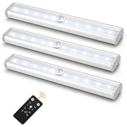 3 Pack Luz Armario 10 LED Sensor de Movimiento, Iluminación de Gabinete Barra de Luz Nocturna Pegar a Cualquier Lugar para Escaleras, Cocina Alacena funciona con Pilas, Control Remoto (Luz blanca)