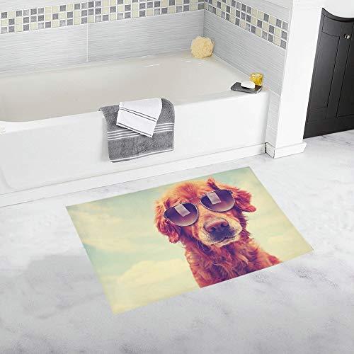 LMFshop Niedliche Golden Retriever getönten Retro Vintage Custom rutschfeste Badematte Teppich Bad Fußmatte Boden Teppich für Badezimmer 20 X 32 Zoll