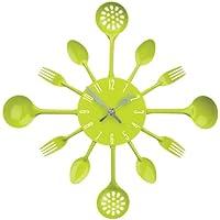 Premier Housewares 2200669 Orologio da Parete Posate, Metallo, Verde Lime