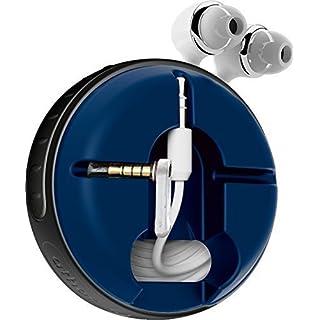 athos-c Cross, schwarz-blau - der hochwertige, universelle Aufroller für Kopfhörerkabel in Fanfarben