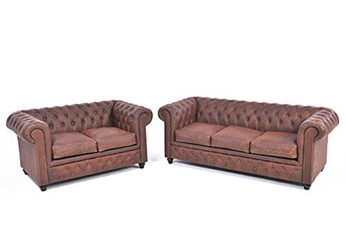 Original Chesterfield Sofas – 2 /3 Sitzer – Vollständig Handgewaschenes Leder – Vintage Braun