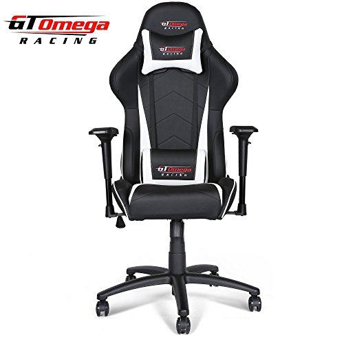 GT Omega Pro Racing Bürostuhl mit Kunst-Lederbezug, Schwarz/Weiß