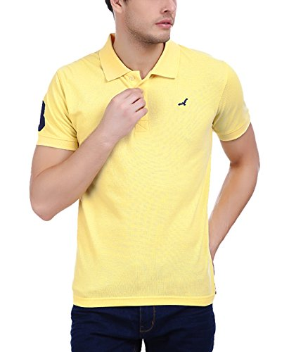 American Crew Men's Polo Collar Half Sleeve Yellow Solid T-Shirt With No.3 Applique - S (AC282-S)