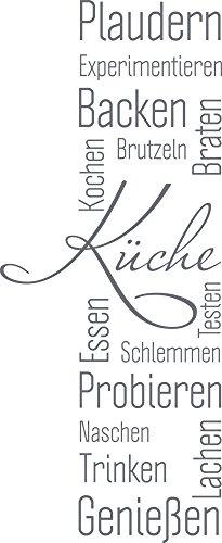 GRAZDesign Wandtattoo Küche Plaudern Backen Genießen -Banner Wand-Worte für Esszimmer Restaurant Wand-Deko (139x57cm//071 Grau)