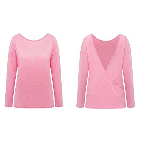 Minetom Sommer Damen Tops Oberteil Bluse Party Pullover Frühjahr Rundhals Langarm Bluse Rückenfrei Loose T Shirt Rosa