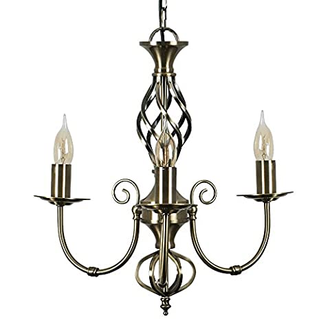 Traditional Style Antique Brass Barley Twist 3 Way Ceiling Light