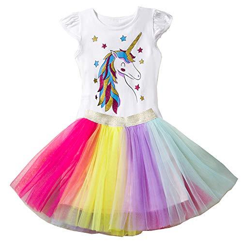 mama stadt Kleid Mädchen Einhorn Tulle Party Geburtstag Prinzessin Tutu Kleider 120/4Y