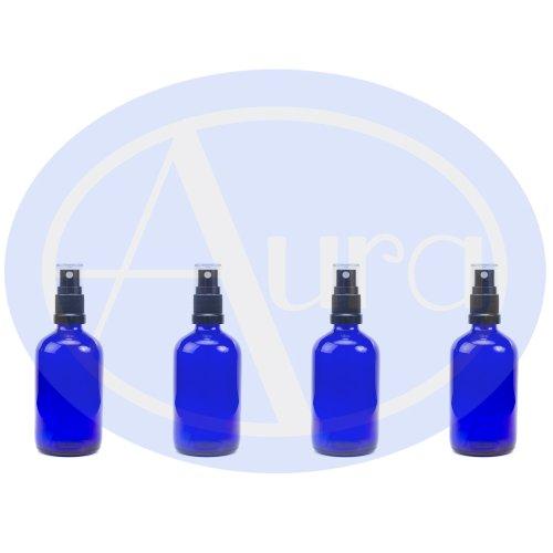 4er-PACKUNG - 100ml BLAUGLAS-Flaschen mit Schwarzen Sprüh-ZERSTÄUBERN. Ätherisches Öl / Verwendung in Aromatherapie