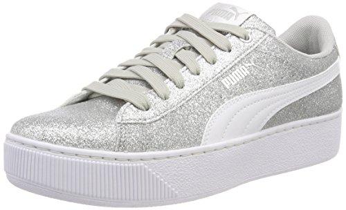 (Puma Mädchen Vikky Platform Glitz JR Sneaker, Silber Silver White-Gray Violet 03, 36 EU)