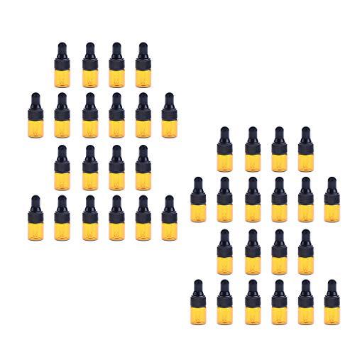 Baoblaze 40x Mini Flacons Compte-gouttes en Verre Rechargeable