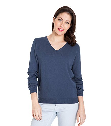 Womens Cashmere and Cotton V Neck Jumper French Navy, XL (V-neck Womens Pullover)