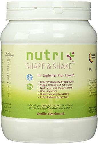 Nutri-Plus Shape & Shake Vegan Vanille 500g - Veganer Proteinshake ohne Aspartam, Laktose & Milcheiweiß