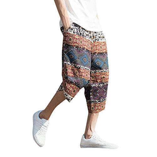 Ginli Uomo Estate Casuale Pantaloncini da Spiaggia Sottile Loose Fit Vita Elastica Coulisse Tasche Traspirante Lunghezza del Ginocchio Pantaloni Corti Shorts Bermuda