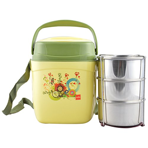 Cello Relish Insulated 3 Container Lunch Carrier, Green