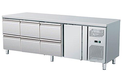 Zorro - Kühltisch mit Füßen ZGN 4160 TN - 1 Türen - 6 Schubladen - Gastro Zubereitungstisch mit Arbeitsfläche - R600A - Digitales Thermostat - Umluftkühlung