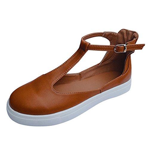 OSYARD Mary Jane Halbschuhe für Damen, Frauen Fesselriemchen Flache Schuhe Geschlossene Ballerinas Freizeitschuhe Bequeme Slip-On Lederloafer
