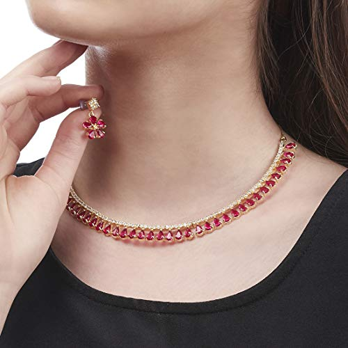 Zeneme Gold Plated American Diamond Necklace with Earrings for Women & Girls (Red)