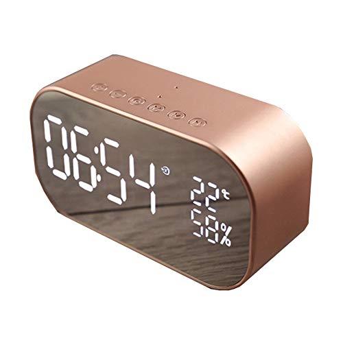 Thole Digitaler Wecker Bluetooth Lautsprecher FM Radiowecker Dual-Alarm mit USB Ladeanschluss Bluetooth 4.2 Lautsprecher LED-Anzeige mit Dimmer Roségold,Rose-Gold (Radiowecker Mit Alarm)
