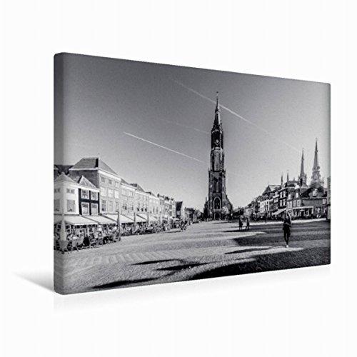 Premium Textil-Leinwand 45 cm x 30 cm quer Blick auf die Nieuwe Kerk | Wandbild, Bild auf Keilrahmen, Fertigbild auf echter Leinwand, Leinwanddruck