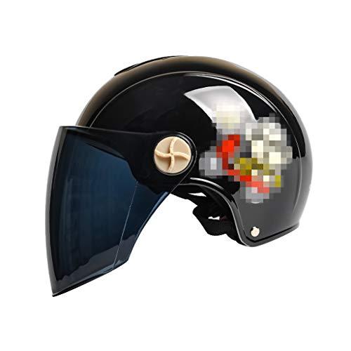 MLMTK Fahrradhelm, schwarzer Frosch-Spiegel-halber Helm-elektrischer Motorrad-Helm-Schutzhelm-Visier-Multi Farbe (größe : SCHWARZ)