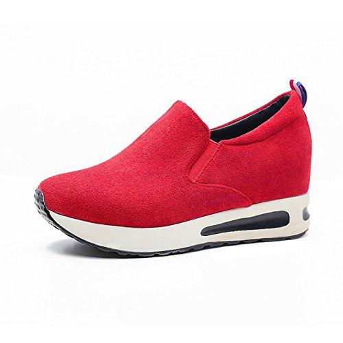 VogueZone009 Damen Ziehen Auf Hoher Absatz Nubukleder Gemischte Farbe Rund Zehe Pumps Schuhe Rot
