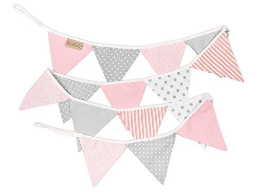 KraftKids Dekoration Wimpelkette - rosa grau weiß