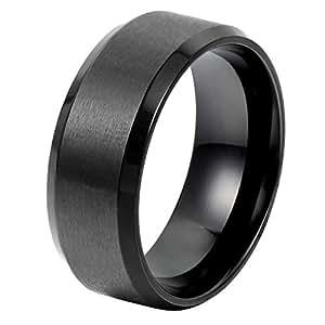OIDEA Anello in acciaio inossidabile per Uomo liscio nero promessa misura 14.5
