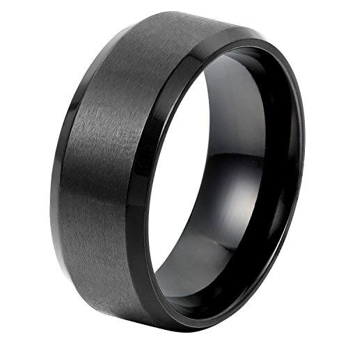 Oidea anello in acciaio inossidabile per uomo liscio nero promessa misura 17