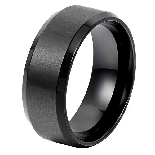OIDEA Herren Edelstahl Ring, 8mm Retro Polished Schwarz Verlobungsringe Trauringe Größe 74 (67 (21.3))