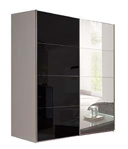 schwebet renschrank schiebet renschrank ca 150 cm spiegel und glas schwarz kleiderschrank. Black Bedroom Furniture Sets. Home Design Ideas