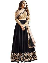 Wommaniya Impex Women's Black Mulberry Silk Long Anarkali Semi-Stitched Salwar Suit