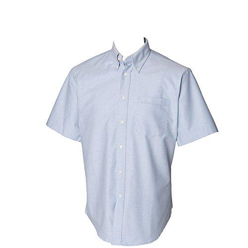 Henbury Mens Short Sleeve Classic Oxford Work Formal Shirt blue