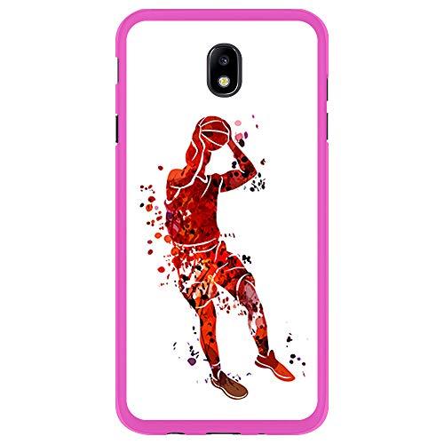 BJJ SHOP Rosa Hülle für [ Samsung Galaxy J5 2017 ], Klar Flexible Silikonhülle, Design: Basketball-Spieler-Aquarell