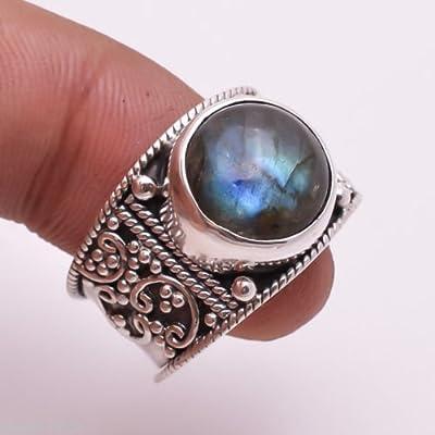 Bague faite à la main en argent massif à motif Labradorite bleu 925 de la taille 44 à 68 FR