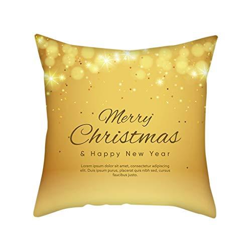 jfhrfged quadrato buon natale fodere per cuscini dorati per decorazioni natalizie pillow cases per interni 45cmx 45cm (b)